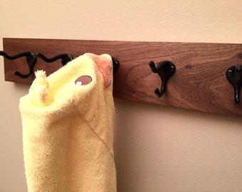 Wall Mounted Coat Rack - Hat Rack - Handmade Wood Coat Rack - Wood Rack with Hooks - Walnut Wood - Six Hooks