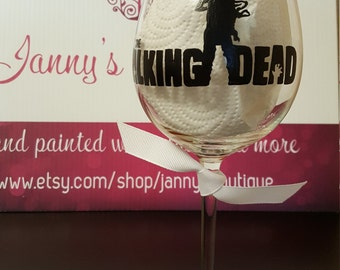 Zombie personalized Handpainted glass