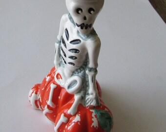 Vintage Halloween Skeleton Ceramic Candleholder Candle Holder  BOO!!