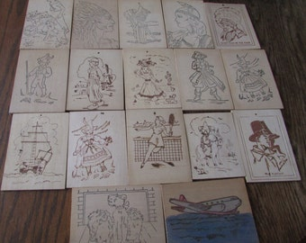 17 Vintage Woodburning Cards  Native American Indians Pirate Dogs Girls Boys