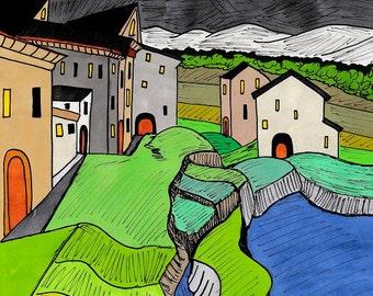 A4 fine art giclée print titled Siurana