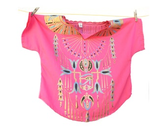 Pink and gold Egyptian Top, Vintage Egyptian Shirt, Egypt Painted Top