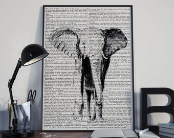 Dictionary art print, elephant drawing, elephant art print, Vintage dictionary print