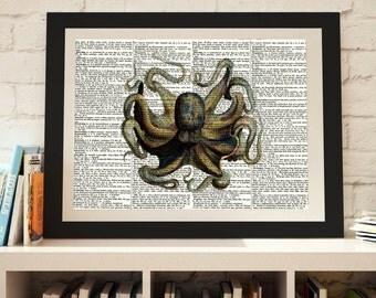 Ocotopus print, Dictionary print, Dictionary art, Vintage animal print, Nautical print