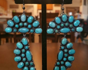 Native American Turquoise Cluster Earrings