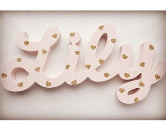 Chunky name plaque wall mounted or freestanding