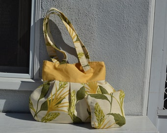 2 toned yellow purse with pouch