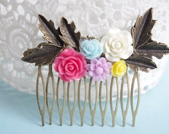 Bridal hair Comb Pink Rose Comb Ivory Collage Flower Hair Comb Hair comb Antiqued Brass Filigree Romatic Beautiful Hair Comb Accessory