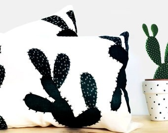 Screen Printed Cactus Navy Off White Linen Pillowcases