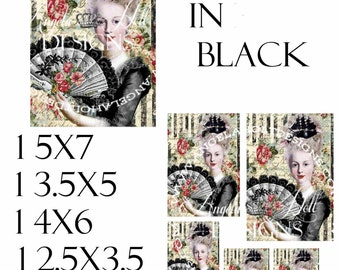 Marie in Black 2 Sheet Digi Photo Set