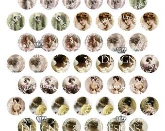 Vintage Ladies 1 inch Circle/Bottle cap Digi Sheet