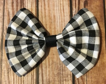 Black and White Checkered Fabric Bow on Alligator Clip