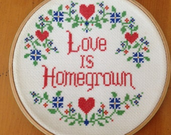 Love is Homegrown Handmade Needlepoint Hoop Art Wall Art