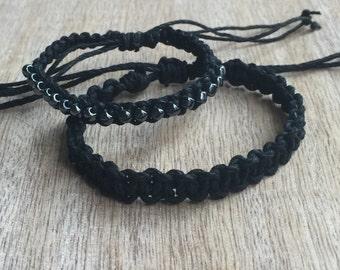 His and hers Bracelets, Black Beaded Matching Bracelets, Couples Hemp Bracelets HC001175
