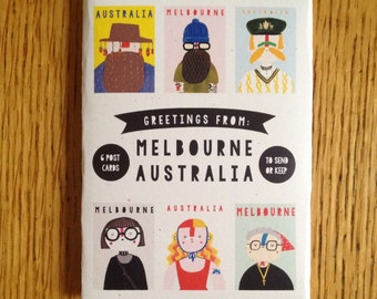 Postcard pack -- Greetings from Melbourne Australia -- set of six cute & funny illustrated mini greeting cards