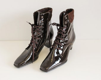 Granny Boots Brown Burgundy Lace-up SIOUX Patent Leather  boot  Victorian Ankle Boots  Shiny Granny Booties EUR 37.5 / Uk 4.5 / US 7,5