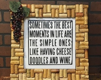 Cheese Doodles and Wine Wall Hanging