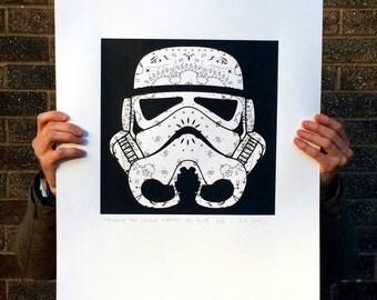 White Stormtrooper Screen Print