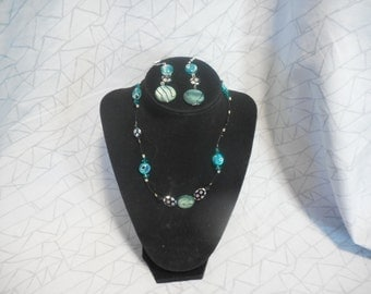 Handmade Teal Necklace & Earing Set