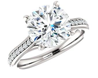 3 Carat Forever One Moissanite (9mm) & Diamond Solitaire Engagement Ring 14k, 18k or Platinum, Anniversary Moissanite Rings for Women