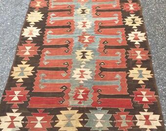 Handmade Vintage Antique Turkish Kilim 1940's 5 feet 4 1/2 x 9 feet 1 inch