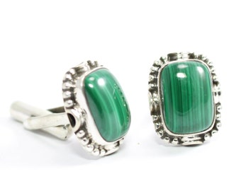 Stylish Malachite Cufflinks 925 Sterling Silver Green Casajewels C195