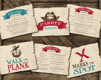 Pirate Birthday Signs (Set of 6), Pirate Signs, Pirate Birthday Signs, Pirate Party Printables