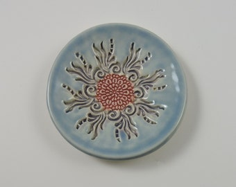 Ring Holder-Starburst Flower Spoon Rest-Sky Blue and Pink Ceramic Flower Texture
