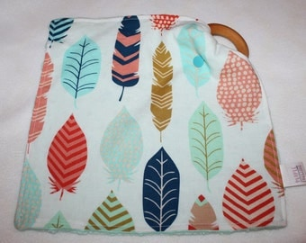 Fun Feathers Snuggle Square Teething Blanket