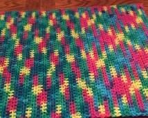 Hand Crocheted Dish Towels Multi-colored Yarn