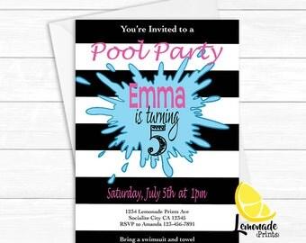 Girls Pool Party Invitation - Glamorous Printable - Geek Summer Party Invite - Black Stripe Stationary - Lemonade Prints