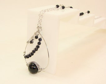 Wire Wrapped onyx Necklace ,gemstone , stainless steel wire ,Jewelry,gift