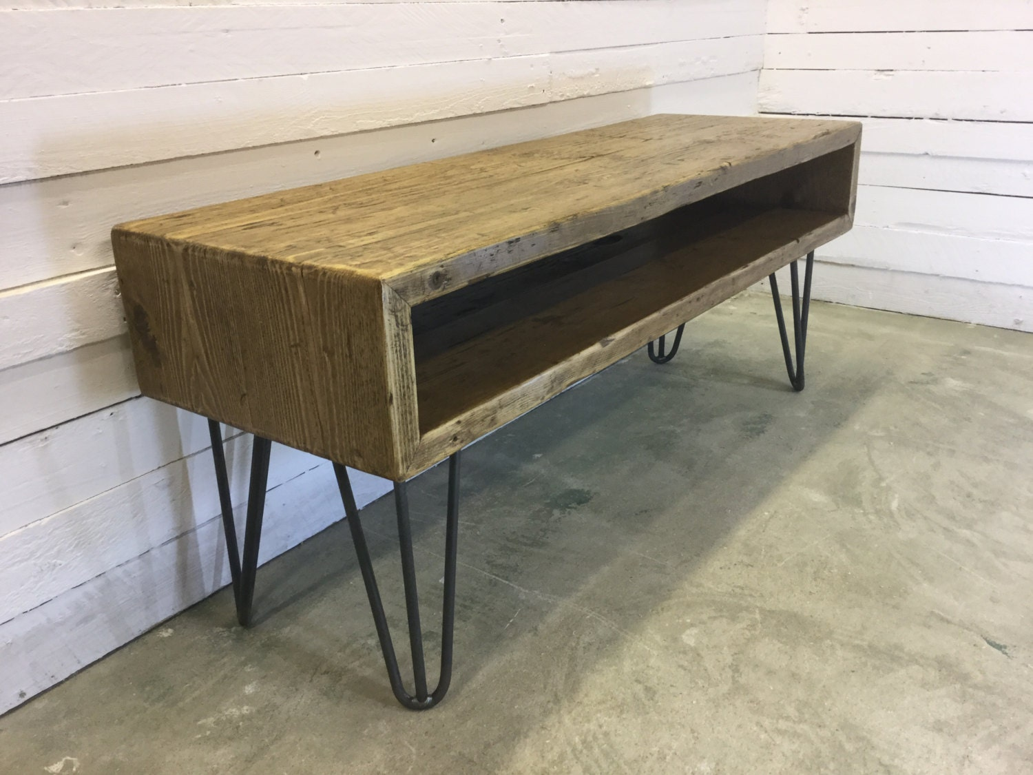 rustic industrial hairpin leg scaffold board tv stand unit. Black Bedroom Furniture Sets. Home Design Ideas