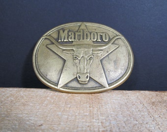 Marlboro, Fashion Accessory, Solid Brass, 1987 Vintage, Collectible, Belt Buckle, Free Shipping