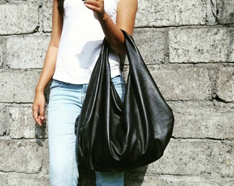 BLACK - Large hobo Bag, black soft leather hobo bag, leather hobo bag, hobo bag large, black leather bag, hobo bag black, genuine, boho