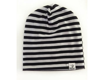 Black and white stripped slouch beanie