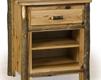 Hickory & Oak OR Hickory on Hickory Rustic Night Stand - End Table - Side Table  (1 Drawer and 2 Shelves)- Amish Made USA - Model# B-941