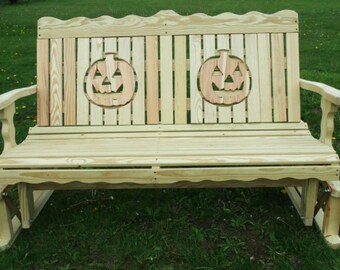 4 Foot Unfinished Pressure Treated Pine Designs Fancy Halloween Pumpkin Jack o Latern Cut Out Glider Bench - Amish Made in the USA