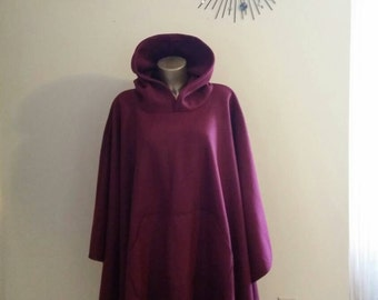 Mens or Womens Hooded  Fleece Poncho One Size Fits All With Front Pocket