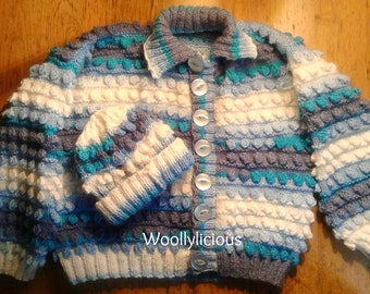 Hand knitted cardigan set, Blue and white hand knitted cardigan, Baby shower gift, Two tone knitted sets, Gift for her, Birthday gift