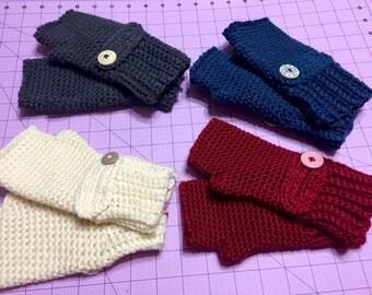 Warm Crochet Fingerless Mittens / Gloves with Buttons