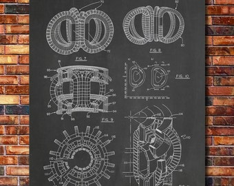 Tokamak Fusion Reactor Patent Print Art 1988