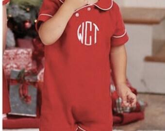 Monogrammed boys Christmas romper - Mudpie Christmas - Monogrammed baby boy