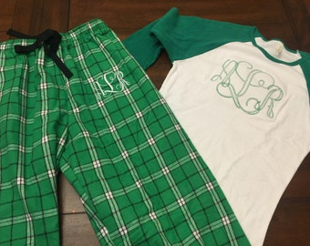 Christmas pajamas, monogrammed top and bottom set, adult and youth sizes available!