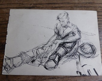 Antique vintage pen & ink sketch drawing of soldier WW2