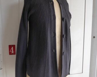 Vintage Jigsaw dark grey charcoal wool cardigan size S UK 10