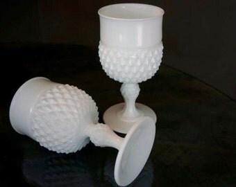 Vintage White Milk Glass Goblets, Diamond Pattern from the 1960's, Wedding Goblets....