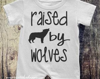 Raised by wolves, Baby Romper, Toddler Romper, Wolf Shirt, Kids Shirt, Romper, Wolf pack, Wolf, Wolves,