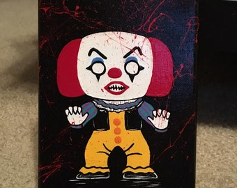 Killer Crafts - Funko Pop Party: Horror No. 4 - Handpainted Canvas - Horror Fan Art - Pennywise the Clown | IT