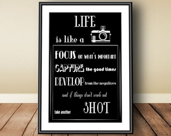 Life is like a camera, digital download, instant download, printable art, typographic print, motivational, life, life quote, life poster